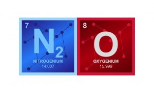 Vector symbol of N2O Nitrous oxide or laughing gas molecule consisting of nitrogen and oxygen atoms and molecules